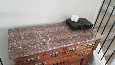 This shows the Marble top back home on top of its dresser. Saved to live another lifetime.